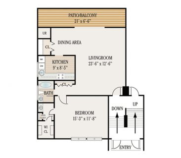 1 Bedroom 1.5 Bathroom. 750-800 sq. ft.