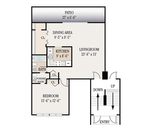 1 Bedroom 1.5 Bathroom Downstairs Only. 750 800 Sq. Ft.
